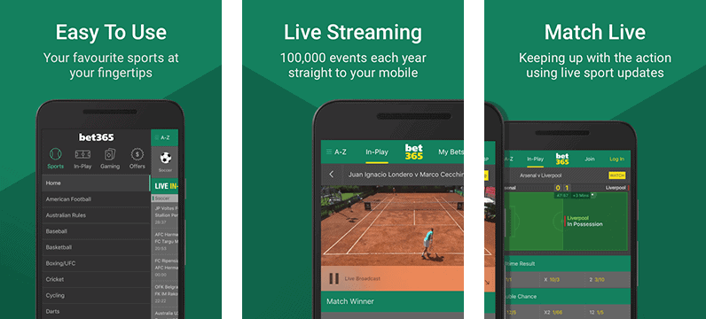 Bet365 app for android showing three screens: live streaming, match live and easy to use funcionality
