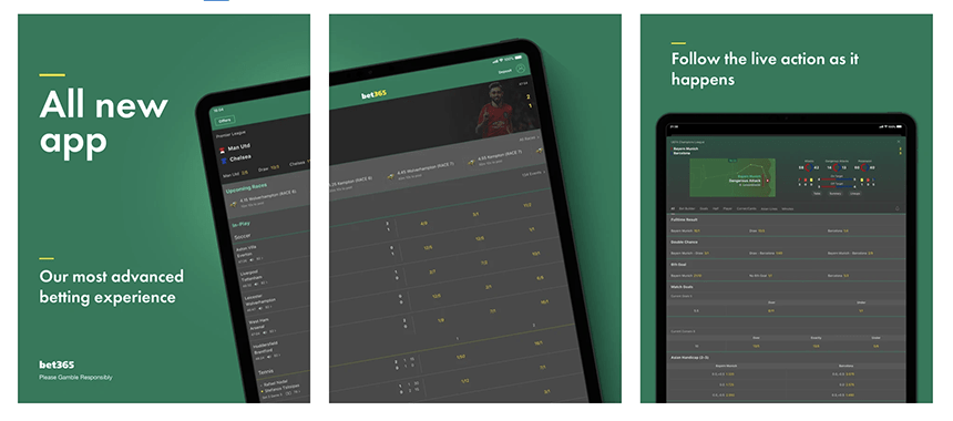 Bet365 app on iPad showing how the app displays across three different screens