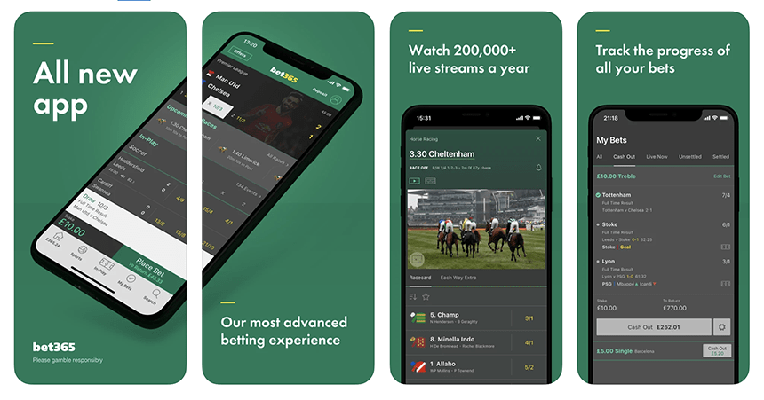 The Bet365 app as it appears on the iphone device