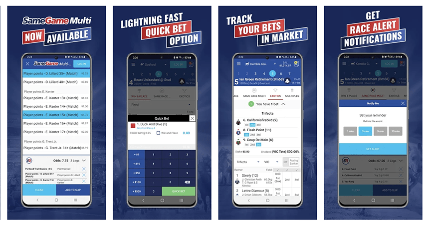 Screenshots of the BlueBet app for android showing race alerts, Same Game Multi, bet tracker and  its easy to use funcionality