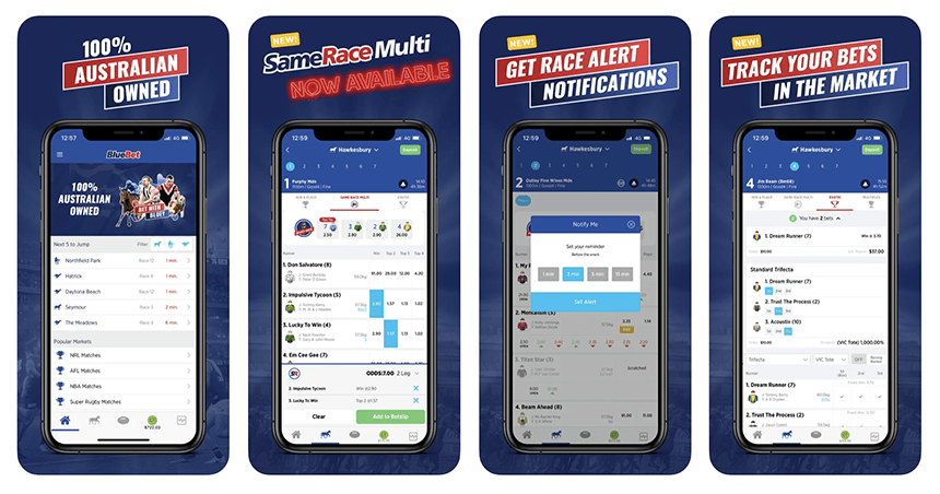 Screenshots of the BlueBet app as it appears on the iphone device