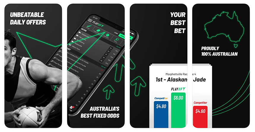 Screenshots of the PlayUp betting app as it appears on the iphone device
