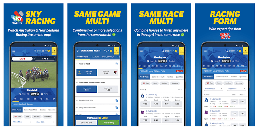 Screnshots of the Sportsbet app as it appears on an android device