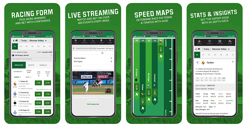 Four screenshots of the Unibet app as it appears on the iphone device