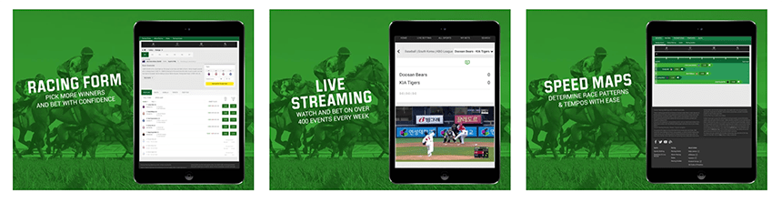 Three screenshots of the Unibet app as it appears on the iPad device