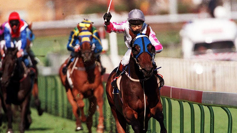 Might and Power wins the 1997 Caulfield Cup by 7.5 lengths.