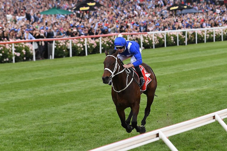 Winx strides to the winning post to win her 4th Cox Plate.