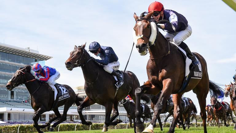 Twilight Payment passes the winning post to win the 2020 Melbourne Cup