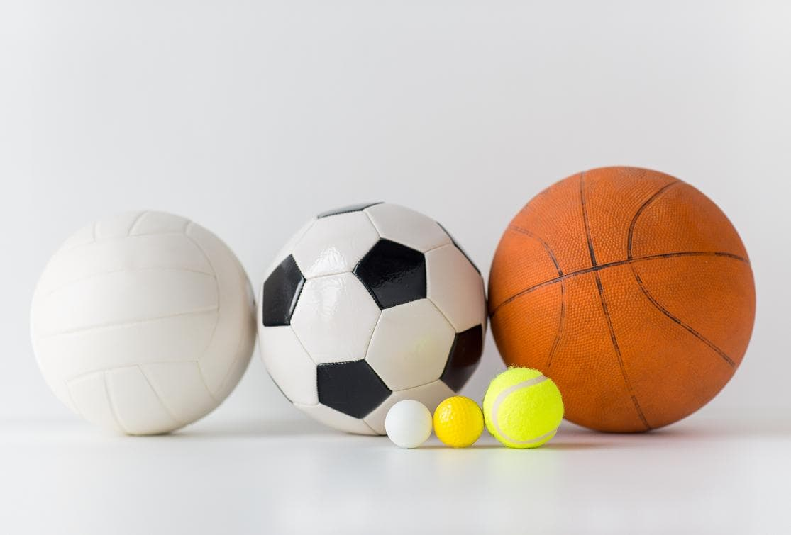 popular sports balls all gathered together