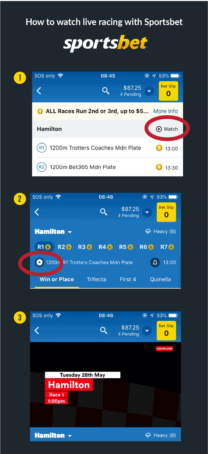 infographic to explain how to watch racing live with Sportsbet